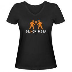 Женская футболка с V-образным вырезом Half Life Black Mesa