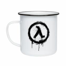 Кружка емальована Half life logo graffiti