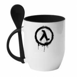 Кружка з керамічною ложкою Half life logo graffiti