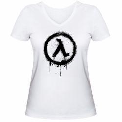 Жіноча футболка з V-подібним вирізом Half life logo graffiti