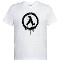 Чоловіча футболка з V-подібним вирізом Half life logo graffiti