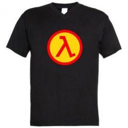 Мужская футболка  с V-образным вырезом Half Life Logo - FatLine