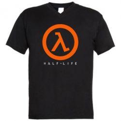 Мужская футболка  с V-образным вырезом Half-life logotype