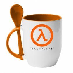 Кружка с керамической ложкой Half-life logotype