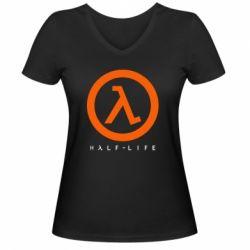 Женская футболка с V-образным вырезом Half-life logotype