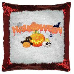 Подушка-хамелеон Halloween Logo