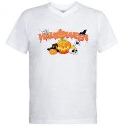 Мужская футболка  с V-образным вырезом Halloween Logo - FatLine