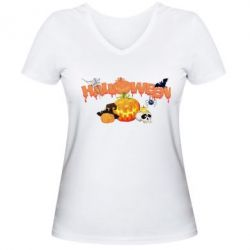 Купить Женская футболка с V-образным вырезом Halloween Logo, FatLine