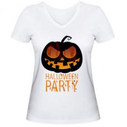 Женская футболка с V-образным вырезом Halloween Party - FatLine