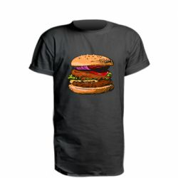 Удлиненная футболка Hamburger hand drawn vector