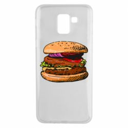 Чехол для Samsung J6 Hamburger hand drawn vector