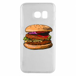 Чехол для Samsung S6 EDGE Hamburger hand drawn vector