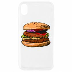 Чехол для iPhone XR Hamburger hand drawn vector