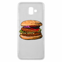 Чехол для Samsung J6 Plus 2018 Hamburger hand drawn vector