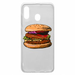 Чехол для Samsung A30 Hamburger hand drawn vector