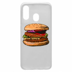 Чехол для Samsung A40 Hamburger hand drawn vector