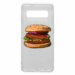 Чехол для Samsung S10 Hamburger hand drawn vector