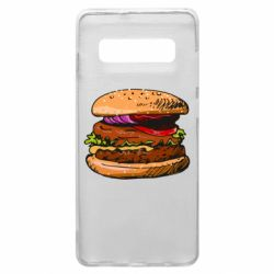 Чехол для Samsung S10+ Hamburger hand drawn vector