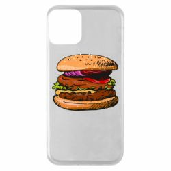Чехол для iPhone 11 Hamburger hand drawn vector