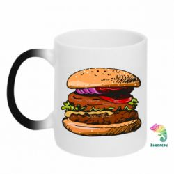 Кружка-хамелеон Hamburger hand drawn vector