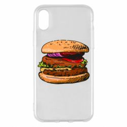 Чехол для iPhone X/Xs Hamburger hand drawn vector