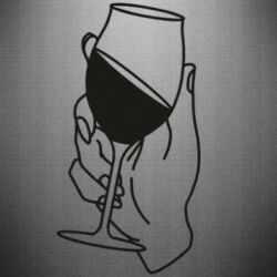Наклейка Hand with a glass of wine
