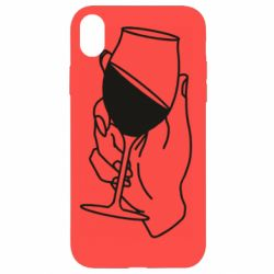 Чохол для iPhone XR Hand with a glass of wine