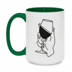 Кружка двоколірна 420ml Hand with a glass of wine