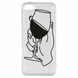 Чохол для iphone 5/5S/SE Hand with a glass of wine