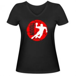 Женская футболка с V-образным вырезом Handball Logo - FatLine