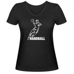 Женская футболка с V-образным вырезом Handball - FatLine