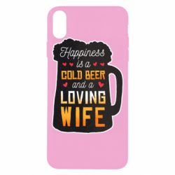 Чехол для iPhone X/Xs Happiness is a good bear and a loving wife