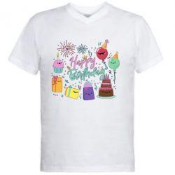 Чоловіча футболка з V-подібним вирізом Happy Birthday