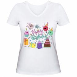 Жіноча футболка з V-подібним вирізом Happy Birthday