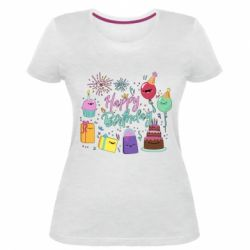 Жіноча стрейчева футболка Happy Birthday