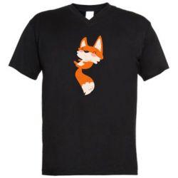 Мужская футболка  с V-образным вырезом Happy fox