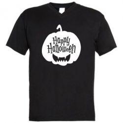 Чоловіча футболка з V-подібним вирізом Happy halloween smile