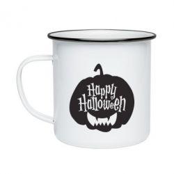 Кружка емальована Happy halloween smile