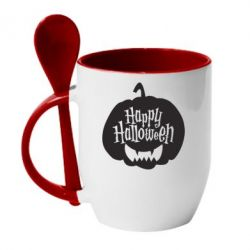 Кружка з керамічною ложкою Happy halloween smile