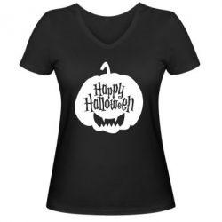 Жіноча футболка з V-подібним вирізом Happy halloween smile