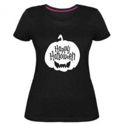 Жіноча стрейчева футболка Happy halloween smile