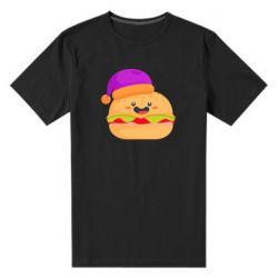 Мужская стрейчевая футболка Happy hamburger
