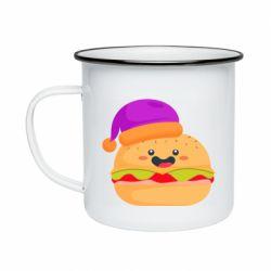 Кружка эмалированная Happy hamburger
