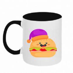 Кружка двухцветная 320ml Happy hamburger
