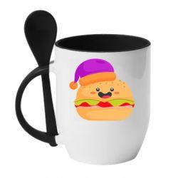 Кружка с керамической ложкой Happy hamburger