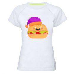 Женская спортивная футболка Happy hamburger