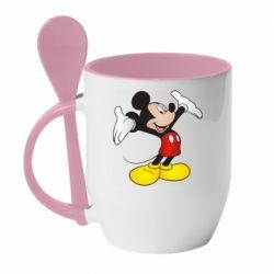 Кружка з керамічною ложкою Happy Mickey Mouse