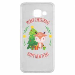 Чехол для Samsung A3 2016 Happy new year and deer
