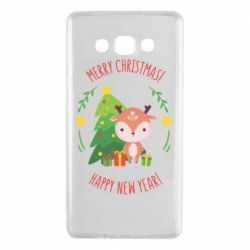 Чехол для Samsung A7 2015 Happy new year and deer