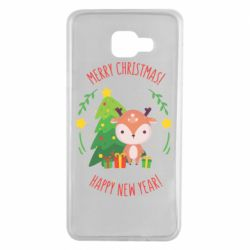 Чехол для Samsung A7 2016 Happy new year and deer